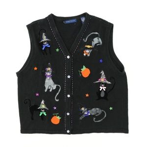 VTG Halloween Cat Witch Large Sweater Vest